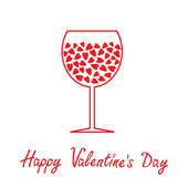 Wine glass with hearts inside. Happy Valentines Day card. — Stock Vector