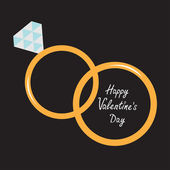 Wedding gold rings. Happy Valentines Day card. — Vector de stock