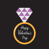 Wedding gold ring with purple diamond. Happy Valentines Day card — Stock Vector
