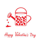 Love watering can with hearts inside. Happy Valentines Day card. — ストックベクタ
