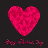 Pembe kalp. mutlu sevgililer günü kartı — Stok Vektör