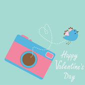 Photo camera with flying bird. Happy Valentines Day card. — Vettoriale Stock