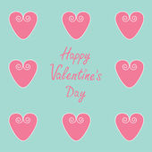 Pink hearts. Happy Valentines Day card. — Stock Vector
