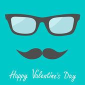 Men's glasses and moustache. Flat design. — Stock Vector