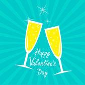 Champagner-gläser. sunburst. happy valentinstag-card. — Stockvektor