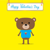 Cute bear. Happy Valentines Day card. — Vettoriale Stock