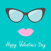 Women's glasses and lips. Flat design. Happy Valentines Day card — Vettoriale Stock
