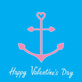 Pink anchor with shapes of heart. Happy Valentines Day card. — Stock Vector