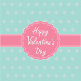 Pink label and ribbon. Happy Valentines Day card. — Stockvector
