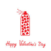 Deodorant, spray with hearts inside. Happy Valentines Day card. — Stock Vector