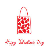 Love shopping bag with hearts inside. Happy Valentines day — Vecteur