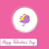Congratulations card with cute violet bird. Happy Valentines Day — Vetor de Stock
