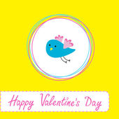 Congratulations card with cute blue bird. Happy Valentines Day — Stock Vector