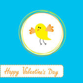 Congratulations card with cute yellow bird. Happy Valentines Day — Vettoriale Stock
