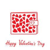 Plånbok med hjärtan inuti. glad alla hjärtans dag-kort. — Stockvektor
