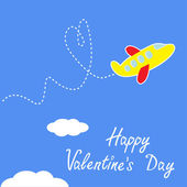Cartoon plane. Dash heart in the sky. Happy Valentines day — Stock Vector