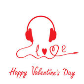 Red headphones. White background. Happy Valentines day card. — Vecteur