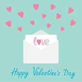 Envelope with hearts. Happy Valentines day card. — 图库矢量图片