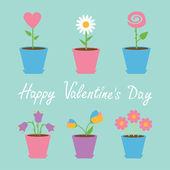 Set of six flowers in pots. — Stock Vector
