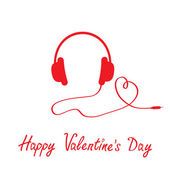 Red headphones and cord in shape of heart. — Vecteur