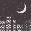 Silhouette of the night city. Stars and moon in the sky. — Stock Vector