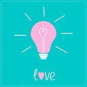 Pink bulb with heart inside. Idea concept. Love card. — Stock Vector
