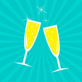 Champagne glasses. Sunburst . Card. — Vettoriale Stock