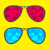Set of glasses with blue and red abstract triangles. — Stock Vector