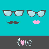 Glasses with lips and moustache. — Vector de stock