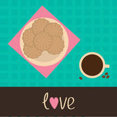 Biscuit cookie cracker on the plate and cup of coffee. Love card — Stock Vector