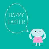 Easter bunny girl and dash line egg bubble. — Stock Vector