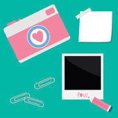 Instant photo, sticker with tape, paperclips, pencil and camera — Stock Vector