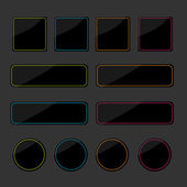 Set of black shiny web buttons — Stock Vector