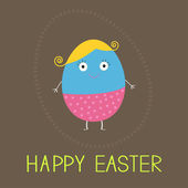 Easter painted egg with cute face. — Stock Vector