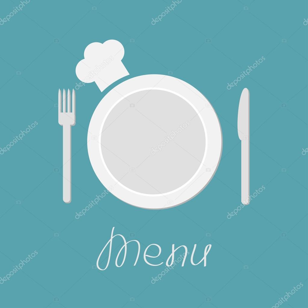 Sombrero de tenedor plato cuchillo y chefs archivo for Plato tenedor y cuchillo