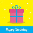 Gift box with ribbon and bow with sparkles. Happy Birthday card. — Stock Vector