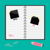 Notebook, pencil, paperclips and instant photos — Vector de stock