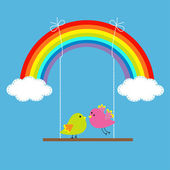 Rainbow,  two clouds in the sky and birds on the swing. — Stok Vektör
