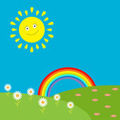 Landscape with sun, rainbow and flowers. — Stock Vector