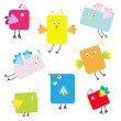 Set of cute square cartoon birds — Stock Vector