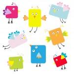 Set of cute square cartoon birds — Stock Vector