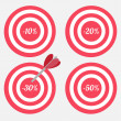Set of targets with sale percent sign. — Stock Vector #44115155