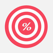 Target with percent sign. — Stock Vector