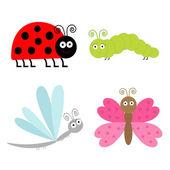 Cute cartoon zestaw owadów. — Wektor stockowy