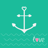 Anchor with shapes of heart — Stockvector