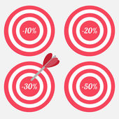 Set of targets with sale percent sign. — Stock Vector