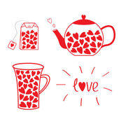 Tea set collection with hearts. — Stock Vector
