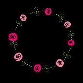 Roses  with dash line stalks. Flower frame. — Stock Vector