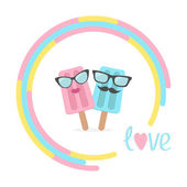 Ice cream couple with lips, mustaches and eyeglasses in the circ — Stock Vector