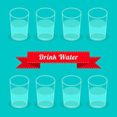 Eight glasses drink water. Infographic. Flat design. — Stock Vector